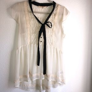 Cream lace blouse with necktie